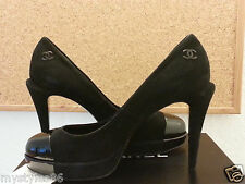 $995 New CHANEL Patent Leather Suede Platform Heels Pumps 39 runs 38 8 Italy CC