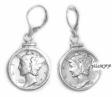 Mercury Dime Sterling Silver Coin Edge Lever Back Coin Earrings