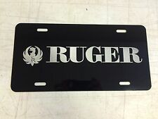 RUGER Car Tag Diamond Etched on Aluminum License Plate