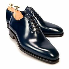 Handmade Navy Blue Oxford Leather Men's Dress Shoes With Plain Toe Made To Order