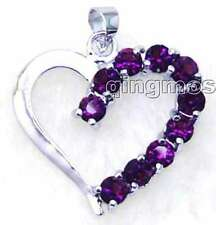 SALE Big 25mm Heart Shape & Purple crystal silver plated pendant-pen69