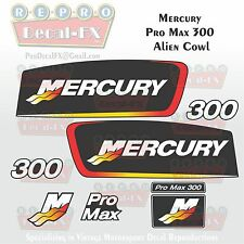 "Mercury Pro Max 300 HP Reproduction Decals for ""Alien"" Cowl 8Pc Marine Vinyl Set"