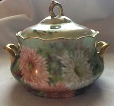 Limoges 1907 Double Handled Covered Bowl Hand Painted Daisies Gold Trim France