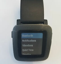 Black Pebble Time Smartwatch - WITHOUT CHARGER - Works but no vibration