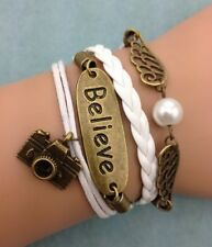 NEW Infinity Believe Camera Wing Pearl Leather Charm Bracelet plated Copper