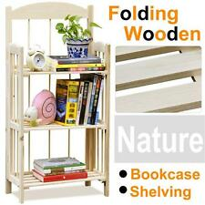 Folding Wooden Bookcase 3-Shelf Storage Shelves Space saving in Natural Finish