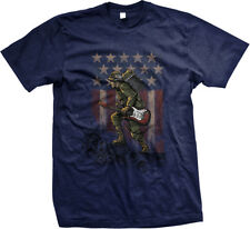 Soldier Holding Guitar And Amp Rock Music USA Pride Flag Mens T-shirt