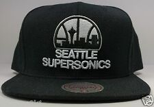 Mitchell & Ness Seattle SuperSonics Black Vintage Solid Wool Snapback Hat NBA