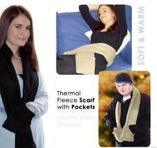 """TAN THERMAL FLEECE SCARF WITH POCKETS """"As Seen on TV"""" Stay Warm This Winter"""