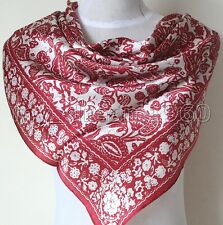 "35"" Women's Fashion Large Square 100% Silk Satin Scarf Shawl Wrap Red"