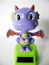Solar Powered Dancing Bobble Head Purple Dragon / With Moving Wings