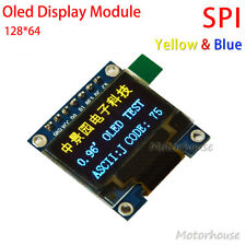 "Yellow&Blue 0.96"" SPI Serial 128x64 Mini OLED LCD Display Module for Arduino 5V"