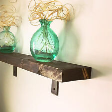 "Handmade Rustic 30"" Natural Wood Wall Shelf with Heavy Duty Steel Brackets"