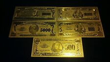 ~Gold Banknote Set($100,000,$10000,$5000 ,$1000,$500)Collectible Bills Free S&H