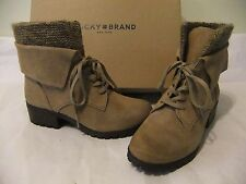 LUCKY BRAND Huntress Tan Suede Leather Ankle Boot Lace Up Size 7.5 NIB $130