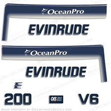 Evinrude 200hp V6 OceanPro Outboard Decal Kit - 1993 1994 1995 1996 1997