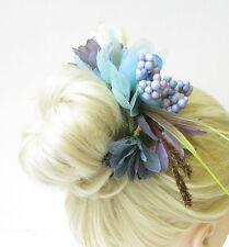 Bleu gris ivoire wildflower chignon guirlande fleur serre-tête cheveux support surround 1668