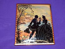 VINTAGE SILHOUETTE PICTURE FRAME COURTING COUPLE IN THE COUNTRY WITH ROSES