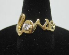 Size 5 14KT Gold EP Script Love Sparkling Cubic Zirconia Word Ring