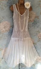 together cream ivory bead vtg 20s deco gatsby lace Evening Wedding dress 12 40