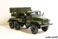 "URAL 4320 with a BM-21 ""Grad"" (olive green), scale model cars 1:43"