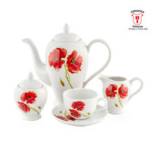 15 pcs Round Coffee Service Set POPPIES 6 people Cups Saucers Teapot Sugar Bowl