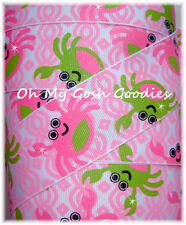 1.5 GLITTER CRAB CAKES PINK LIME QUATREFOIL MUD PIE GROSGRAIN RIBBON HAIRBOW BOW