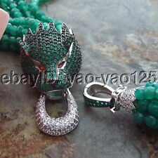 H080904 6Strands Green Agate CZ Necklace Pendant