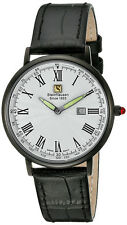 Steinhausen Men's Dunn Luxe Black Stainless Steel / Leather Watch GWL493LWLA