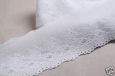 "1Yds Embroidery scalloped cotton eyelet lace White 5"" (13cm) YH855 laceking2013"
