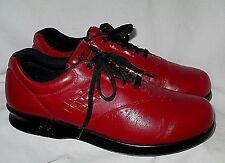 "WOMENS Blood Red Leather SAS ""FREE TIME"" Lace Walking Oxfords Shoes 9 M"