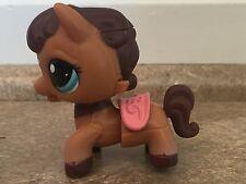 Littlest Pet Shop #2257 Walkables Brown Horse Pony w/ Pink Saddle Blue Eyes  LPS
