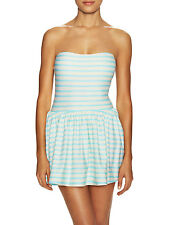 NWT $208 KATE SPADE NY Nahant Shore Striped One Piece Bow Swimsuit Swim Dress L