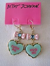 "BETSEY JOHNSON CANDYLAND ""HUG ME"" & ""CUTIE PIE"" HEART DROP EARRINGS~NWT~RARE"