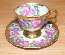 Vintage Royal Sealy Porcelain China Tea Cup & Saucer Pink / Gold Floral / Pansy