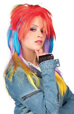 MULTI COLOURED WIG 80s PARTY LADIES SEXY LONG RAINBOW FANCY DRESS PUNK ROCK NEW