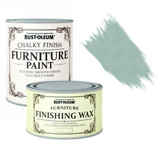 Rust-Oleum Chalky Furniture Paint Chic Shabby 750ml Duck Egg & 400ml Clear Wax