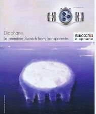 PUBLICITE ADVERTISING 075 2002  SWATCH  montre DIAPHANE