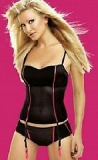Caprice Midnight Black with Pink Trimmings Basque with Suspenders Bra Size 36D