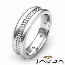 Diamond Mens Eternity Beautiful Wedding Band Bezel Step Cut Platinum Ring 0.16Ct