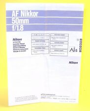Instruction Manual for Nikon AF Nikkor 50mm f/1,8 Ai-S in very good condition!