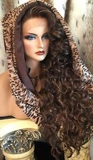 """Incredibly Beautiful, Curly Brown/Red , 32""""Long LaceFront HUMAN HAIR BLEND WIG!!"""
