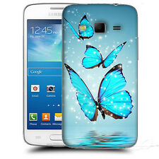 CUSTODIA COVER per SAMSUNG  SM G3815 GALAXY EXPRESS 2 TPU BACK CASE FARFALLE AZZ