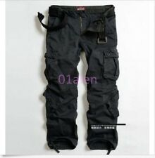 Women Mens Military Cargo Pocket Pants Casual Outdoor Belt Trousers 6 Colors hot