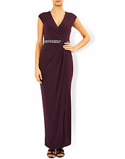 New MONSOON Adrianna Embellished Purple Maxi Evening Dress Size 18 BWNT £89