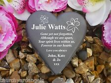 Personalised Heart Memorial Grave Marker / Gift - Lily - Weatherproof