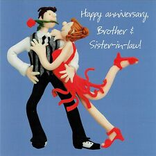 Brother and Sister-in Law Wedding Anniversary Card, One Lump or Two Collection