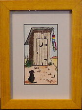Waiting by Judy Burke Crowley dog in front of outhouse w/ windsock orig. framed