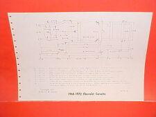 1968 1969 1970 1971 1972 CHEVROLET CORVETTE 70-72 CAMARO FRAME DIMENSION CHART