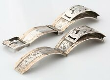 Beautiful 8k Yellow Gold and Sterling Silver Mexican Watch Band Hammered Designs